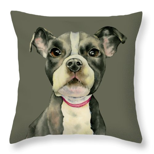 American Pit Bull Terrier Dog Throw Pillow featuring the painting Puppy Eyes by NamiBear