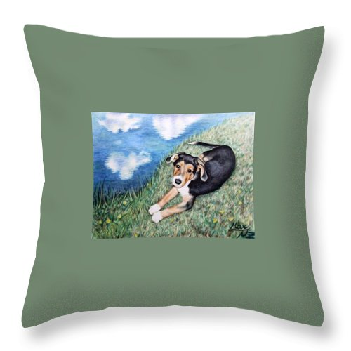 Dog Throw Pillow featuring the painting Puppy Max by Nicole Zeug