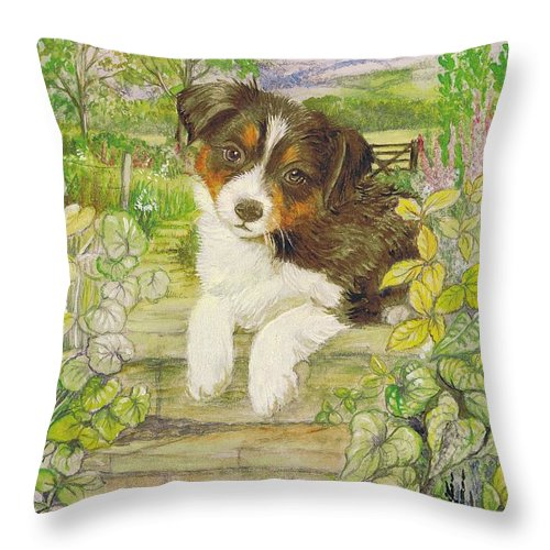 Morgan Throw Pillow featuring the painting Puppy On The Step by Morgan Fitzsimons
