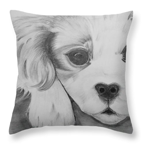 Throw Pillow featuring the drawing Puppy Sketch by Anirudh Maheshwari