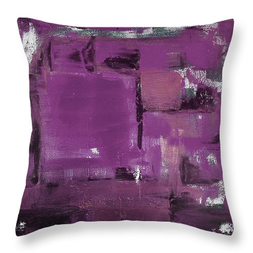 Abstract Throw Pillow featuring the painting Purple Abstract by Gina De Gorna