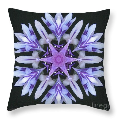Mccombie Throw Pillow featuring the digital art Purple And White Frosted Queen Mandala by J McCombie
