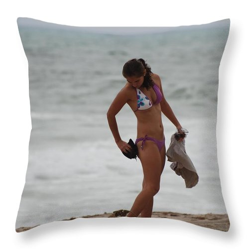 Bikinis Throw Pillow featuring the photograph Purple Bikini by Rob Hans