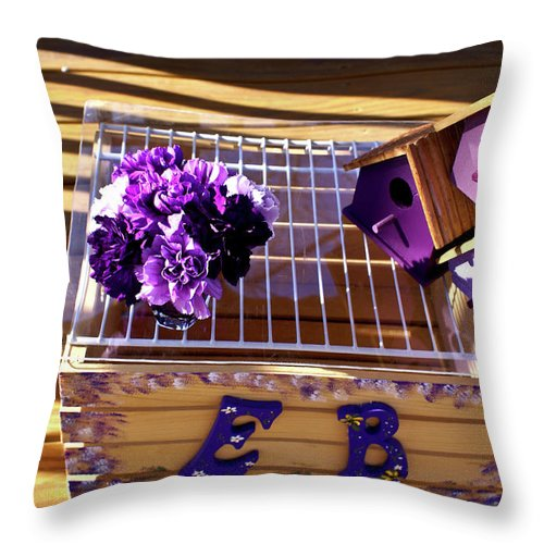 Purple Throw Pillow featuring the photograph Purple Birdhouses 1 by Douglas Barnett