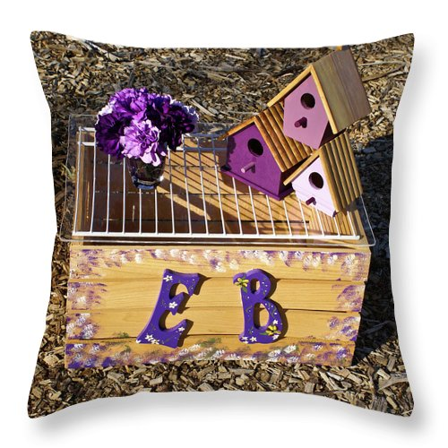 Cove Throw Pillow featuring the photograph Purple Birdhouses 3 by Douglas Barnett