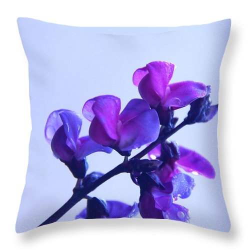 Floral Throw Pillow featuring the photograph Purple by Byron Varvarigos