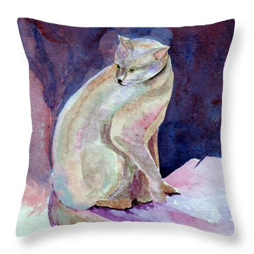 Cat Throw Pillow featuring the painting Purple Cat by Susan Kubes