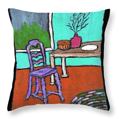 Purple Throw Pillow featuring the painting Purple Chair by Wayne Potrafka