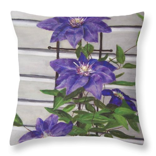 Florals Throw Pillow featuring the painting Purple Clematis by Elizabeth Ellis