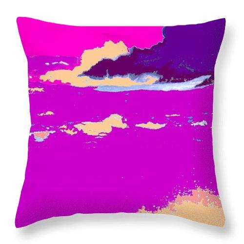 Waves Throw Pillow featuring the photograph Purple Crashing Waves by Ian MacDonald