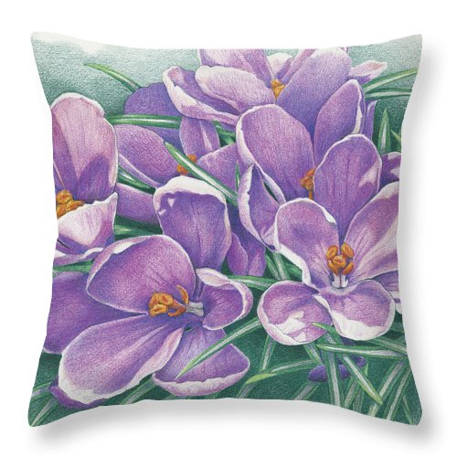 Crocus Throw Pillow featuring the drawing Purple Crocus by Amy S Turner
