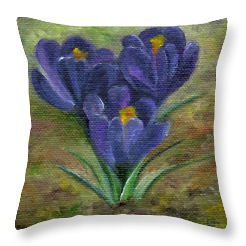 Blue Throw Pillow featuring the painting Purple Crocus by FT McKinstry