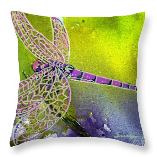 Dragonfly Throw Pillow featuring the painting Purple Dragonfly by Susan Kubes