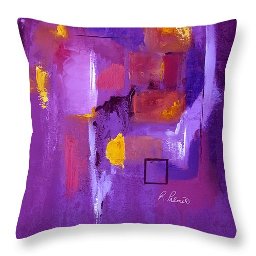 Purple Abstract Throw Pillow featuring the painting Purple Enclosure by Ruth Palmer