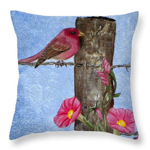 Bird Throw Pillow featuring the painting Purple Finch And Morning Glories by Terri Mills