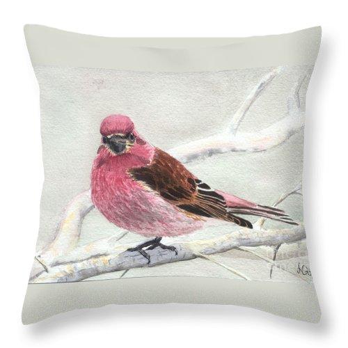 Bird Throw Pillow featuring the painting Purple Finch by Lynn Quinn