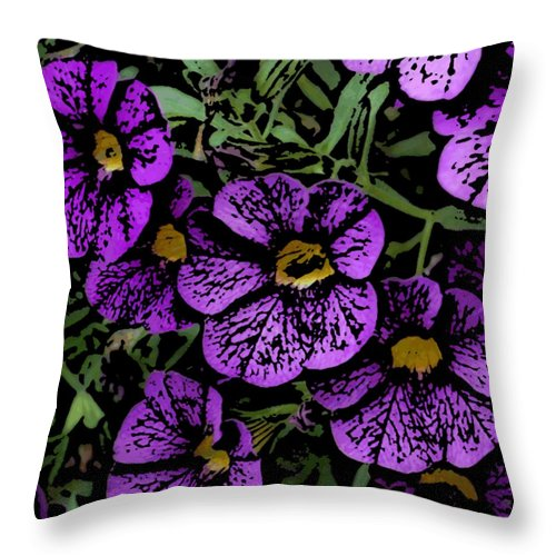 Digital Photograph Throw Pillow featuring the photograph Purple Floral Fantasy by David Lane