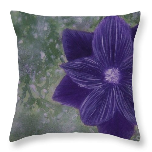 Flower Throw Pillow featuring the painting Purple Flower by Emily Young