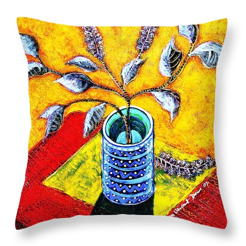 Still Life Throw Pillow featuring the painting Purple Flowers On Orange Background by Ion vincent DAnu
