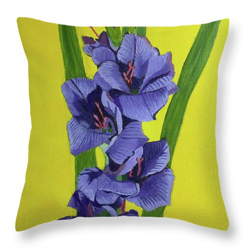 Gladiolas Throw Pillow featuring the painting Purple Gladiolas by William Bowers