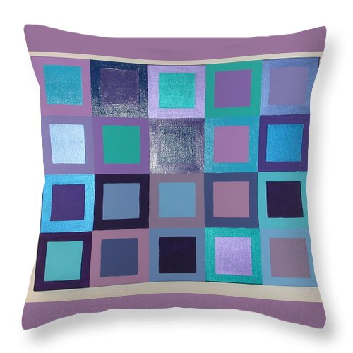 Squares Throw Pillow featuring the painting Purple Haze by Gay Dallek