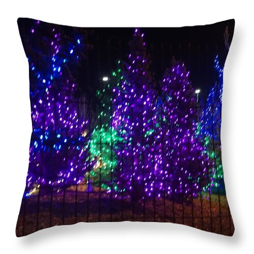 Blue Throw Pillow featuring the photograph Purple Holiday Lights by Susan Brown