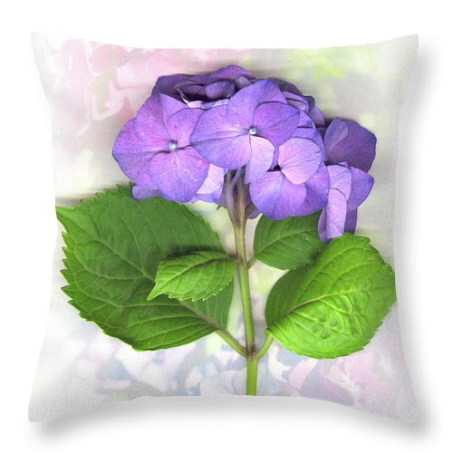 Purple Throw Pillow featuring the mixed media Purple Hydrangea by Sandi F Hutchins