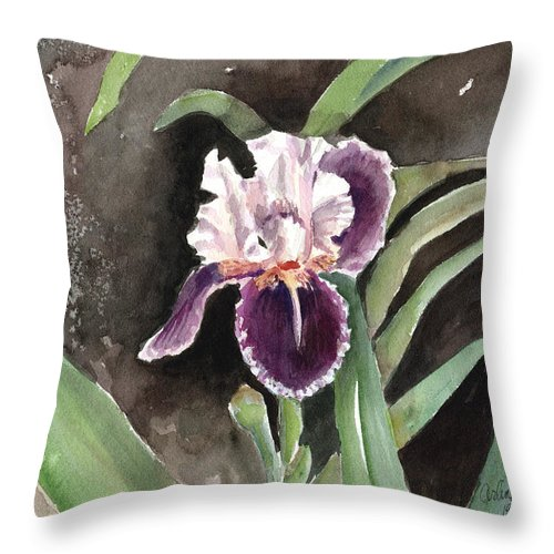 Flower Throw Pillow featuring the painting Purple Iris by Arline Wagner