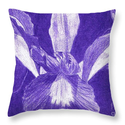 Floral Throw Pillow featuring the drawing Purple Iris by Jeanne Stumbaugh