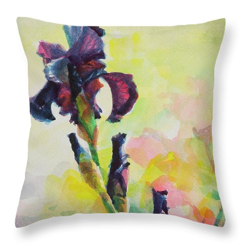 Flower Throw Pillow featuring the painting Purple Iris by Steve Henderson