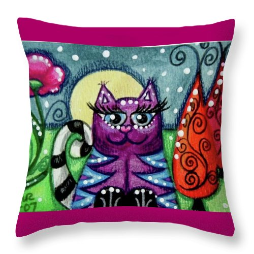 Whimsical Throw Pillow featuring the painting Purple Kitty with Blue Stripes in Moonlight by Monica Resinger