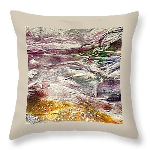 Purple Land Throw Pillow featuring the painting Purple Land by Dragica Micki Fortuna