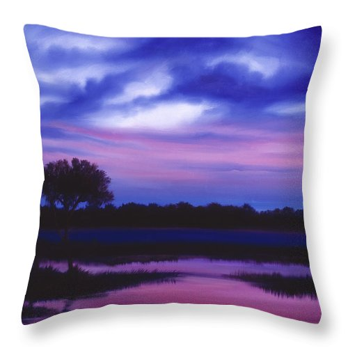 Sunrise Throw Pillow featuring the painting Purple Landscape Or Jean's Clearing by James Christopher Hill