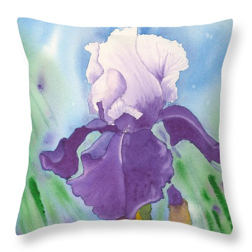 Iris Throw Pillow featuring the painting Purple by Louise Magno