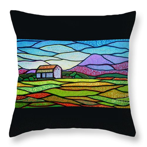 Mountains Throw Pillow featuring the painting Purple Mountain Majesty by Jim Harris