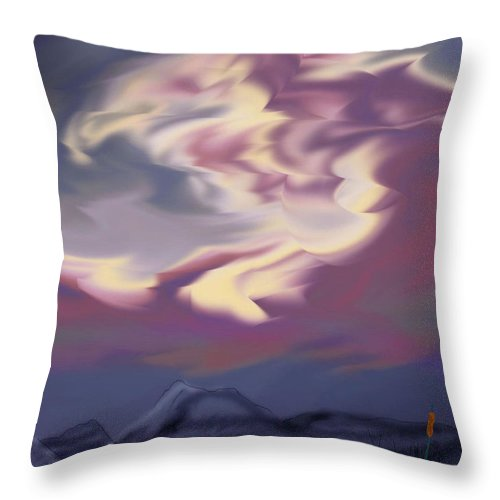 Clouds Throw Pillow featuring the painting Purple Mountain Majesty by Anne Norskog