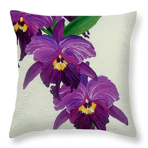 Purple Orchids Throw Pillow featuring the painting Purple Orchids by Juan Alcantara