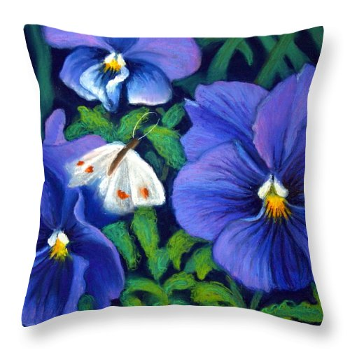 Pansy Throw Pillow featuring the painting Purple Pansies And White Moth by Minaz Jantz