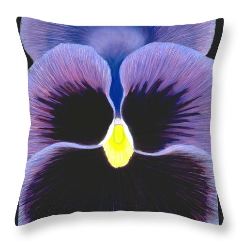 Pansy Throw Pillow featuring the painting Purple Pansy by Mary Erbert