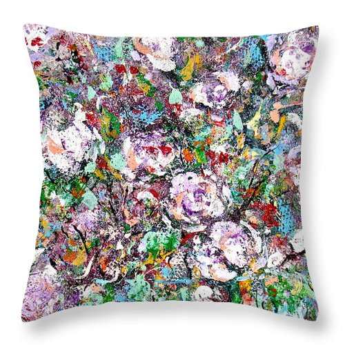 Abstract Throw Pillow featuring the painting Purple Passions by Natalie Holland