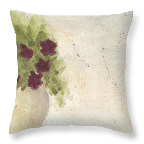 Petunia Throw Pillow featuring the painting Purple Petunias by Ken Powers