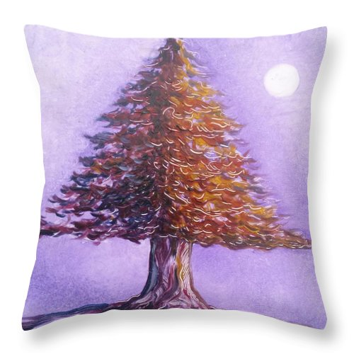 Purple Throw Pillow featuring the painting Purple Pine by Karen Doyle