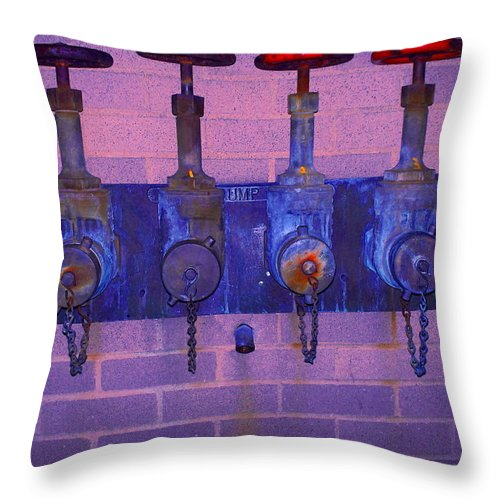 Photograph Throw Pillow featuring the photograph Purple Pipes by Thomas Valentine