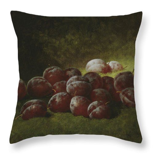 Still-life Throw Pillow featuring the painting Purple Plums by Carducius Plantagenet Ream