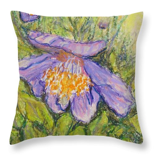 Poppy Throw Pillow featuring the painting Purple Poppy by Laurie Morgan