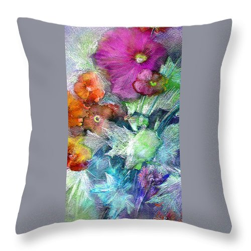 Flowers Throw Pillow featuring the painting Purple Queen by Miki De Goodaboom
