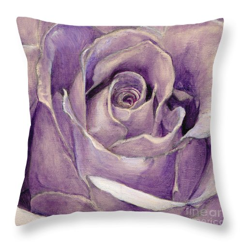 Rose Throw Pillow featuring the painting Purple Rose by Portraits By NC