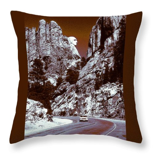 Landscape Throw Pillow featuring the painting Purple Mount Rushmore Vision by Peter Potter