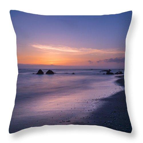 Landscape Throw Pillow featuring the photograph Purple Sea by Josh Meier