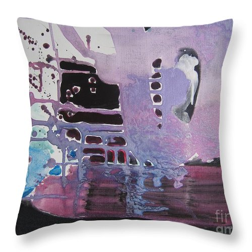 Abstract Paintings Throw Pillow featuring the painting Purple Seascape by Seon-Jeong Kim